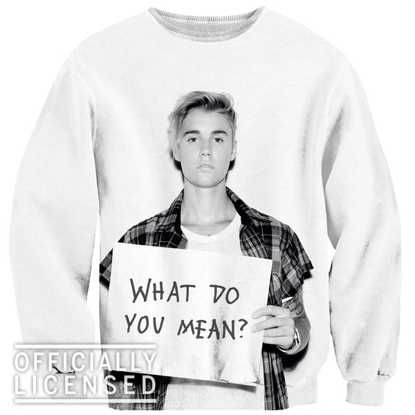 What Do You Mean Justin Bieber Sweater-Shelfies-XS-| All-Over-Print Everywhere - Designed to Make You Smile