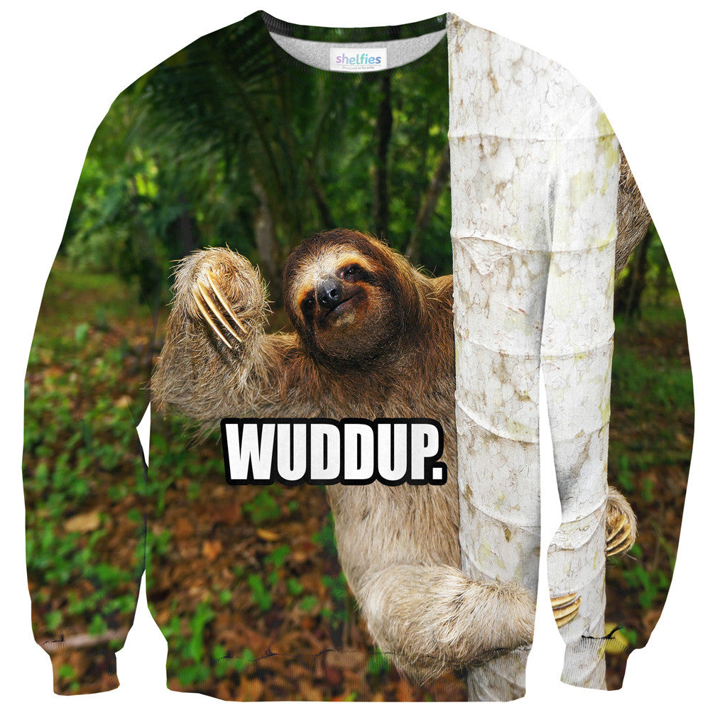 Wuddup Sloth Sweater - Shelfies | All-Over-Print Everywhere - Designed to Make You Smile