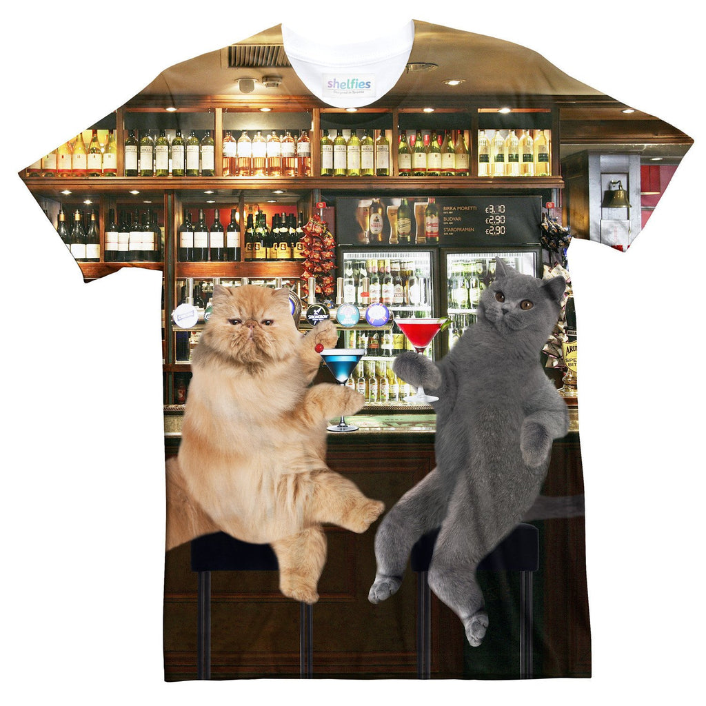 Cocktail Cats T-Shirt-Subliminator-| All-Over-Print Everywhere - Designed to Make You Smile