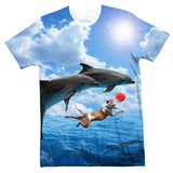 Dog and Dolphins T-Shirt-Shelfies-| All-Over-Print Everywhere - Designed to Make You Smile