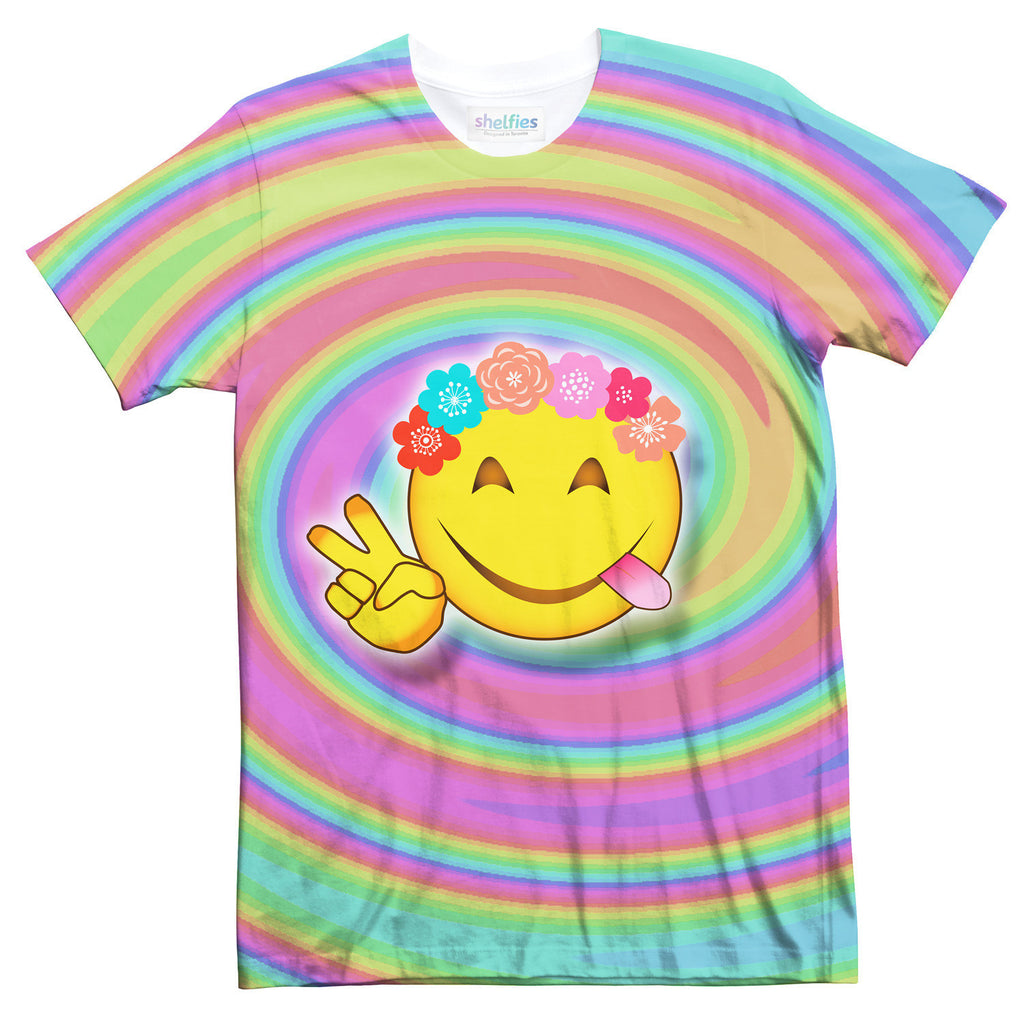 Hippie Emoji T-Shirt-Shelfies-| All-Over-Print Everywhere - Designed to Make You Smile
