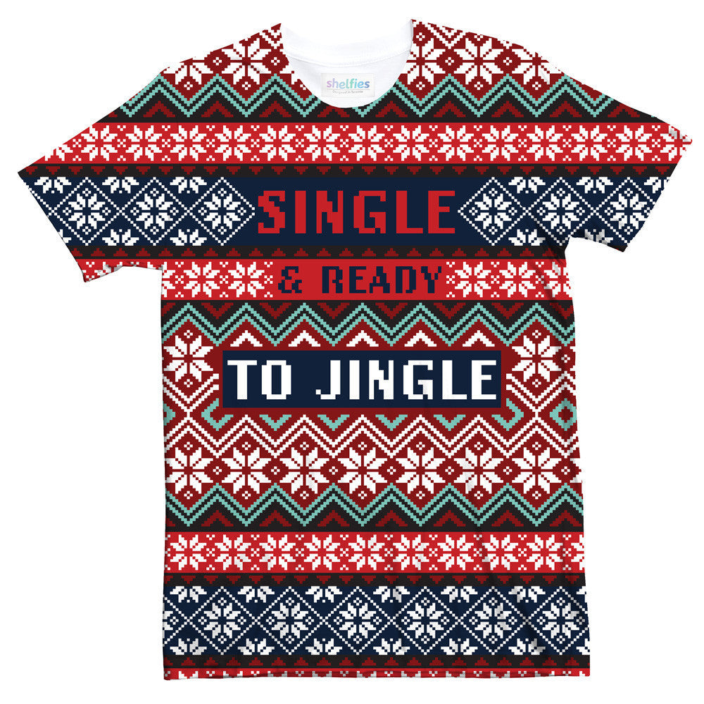 Single & Ready To Jingle T-Shirt-Shelfies-| All-Over-Print Everywhere - Designed to Make You Smile