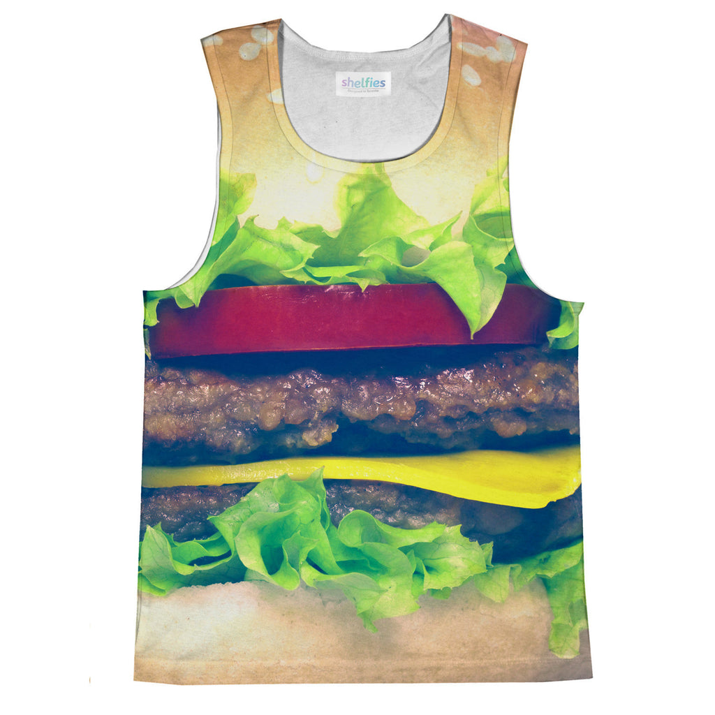 Burger Tank Top-kite.ly-| All-Over-Print Everywhere - Designed to Make You Smile