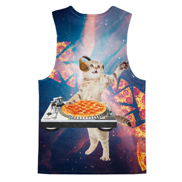 DJ Pizza Cat Tank Top-kite.ly-| All-Over-Print Everywhere - Designed to Make You Smile