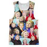 Hillary Clinton Face Tank Top-kite.ly-| All-Over-Print Everywhere - Designed to Make You Smile