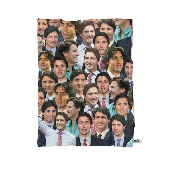 Justin Trudeau Face Blanket-Gooten-Cuddle-| All-Over-Print Everywhere - Designed to Make You Smile