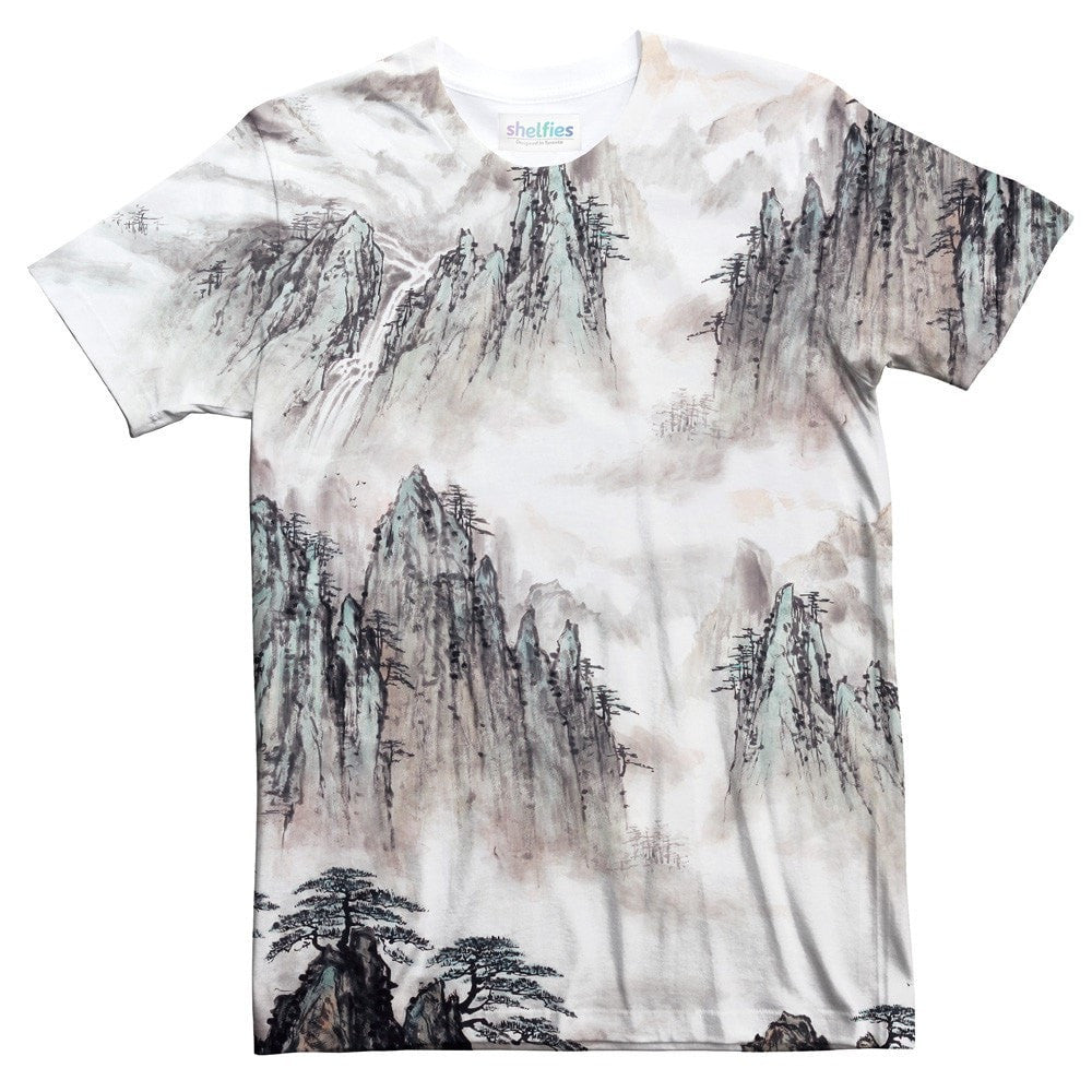 Watercolour Mountains T-Shirt-Shelfies-| All-Over-Print Everywhere - Designed to Make You Smile