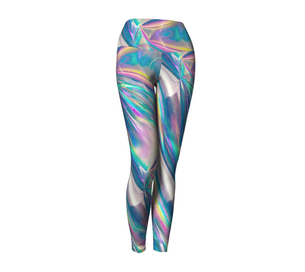 Holographic Foil Yoga Pants-Shelfies-| All-Over-Print Everywhere - Designed to Make You Smile