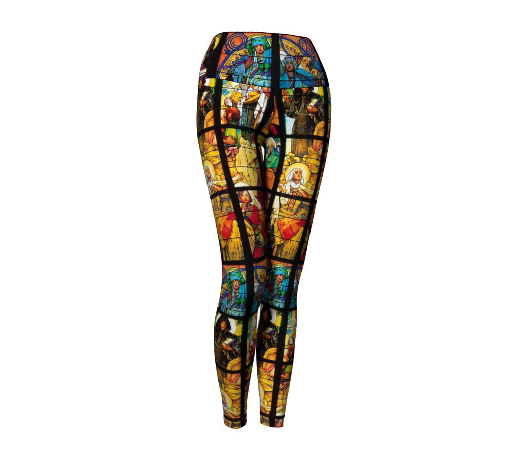 Stained Glass Yoga Pants-Shelfies-| All-Over-Print Everywhere - Designed to Make You Smile