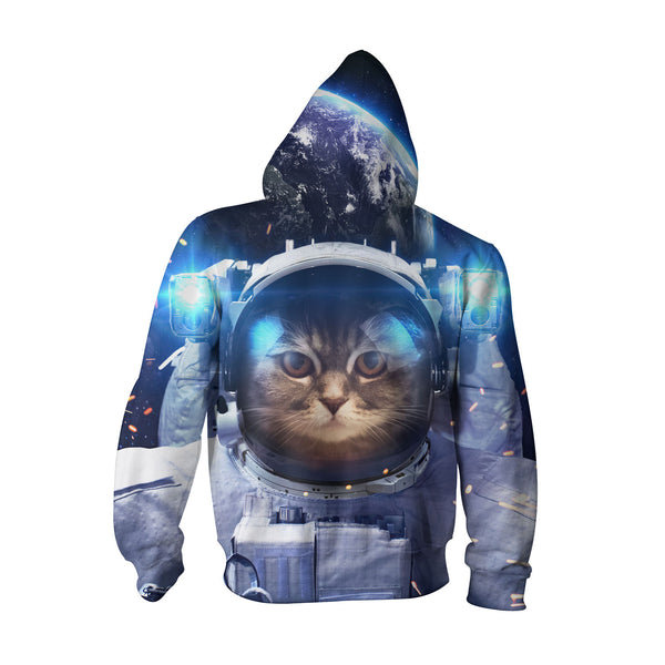 Astronaut Cat Youth Hoodie-Shelfies-| All-Over-Print Everywhere - Designed to Make You Smile