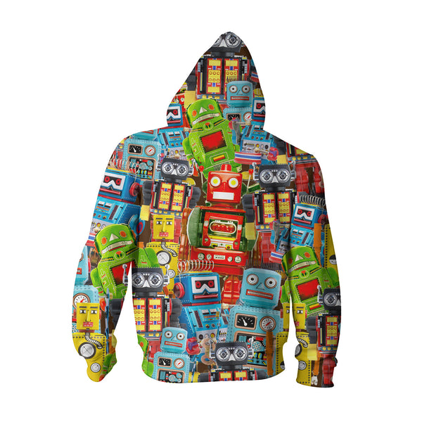 Toy Robots Youth Hoodie-Shelfies-| All-Over-Print Everywhere - Designed to Make You Smile