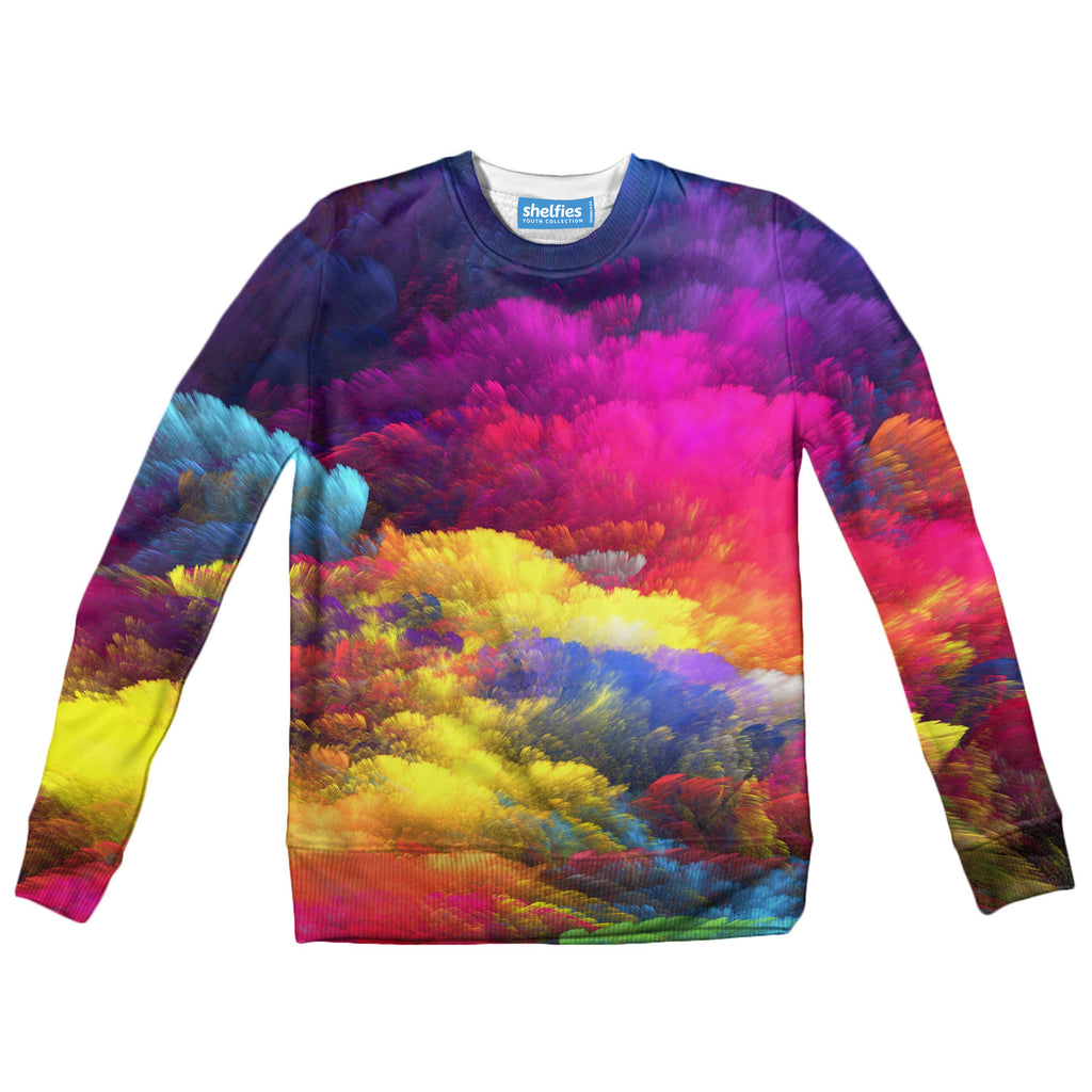 Abstract Colours Youth Sweater-Shelfies-| All-Over-Print Everywhere - Designed to Make You Smile