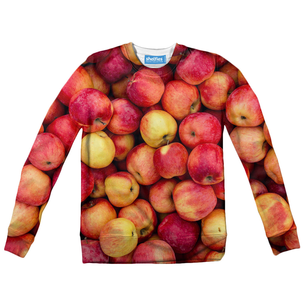 Apple Invasion Youth Sweater-Shelfies-| All-Over-Print Everywhere - Designed to Make You Smile