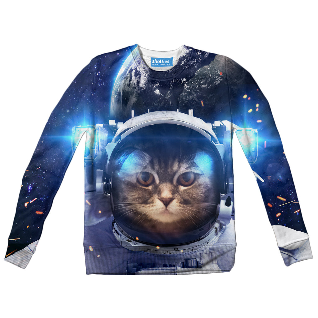 Youth Sweaters - Astronaut Cat Youth Sweater