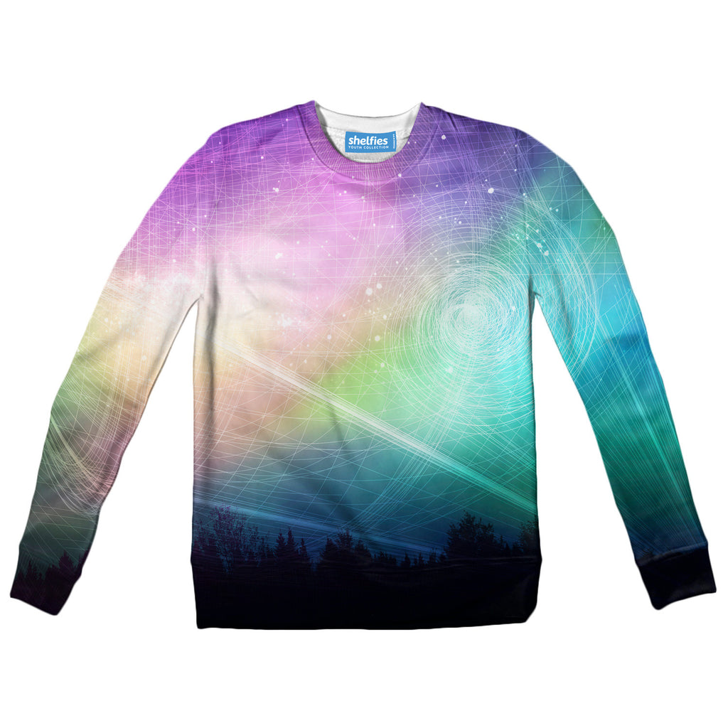 Aurora Borealis Youth Sweater-Shelfies-| All-Over-Print Everywhere - Designed to Make You Smile