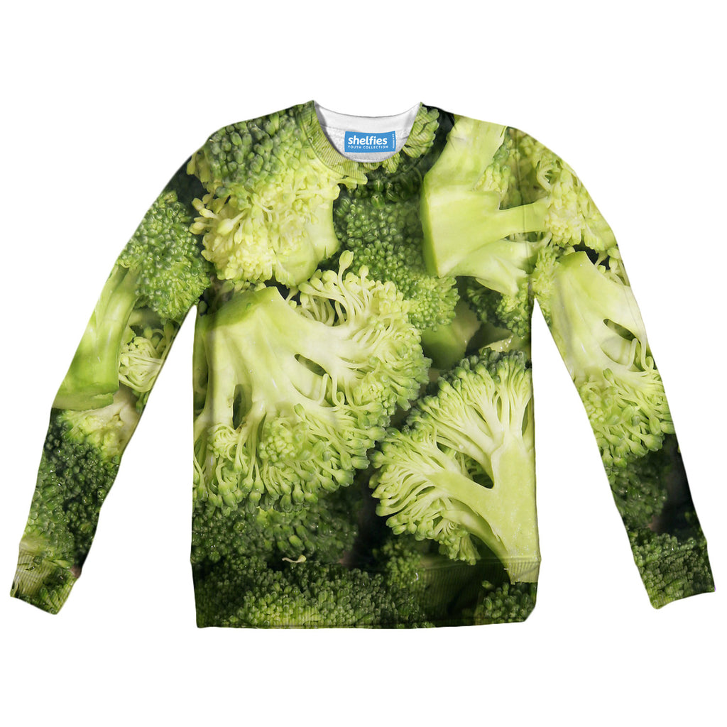Broccoli Invasion Youth Sweater-Shelfies-| All-Over-Print Everywhere - Designed to Make You Smile