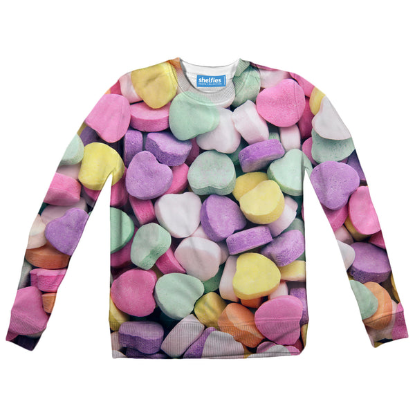 Candy Heart Invasion Youth Sweater-Shelfies-| All-Over-Print Everywhere - Designed to Make You Smile