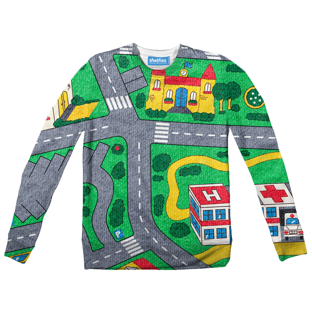 Carpet Track Youth Sweater-Shelfies-| All-Over-Print Everywhere - Designed to Make You Smile