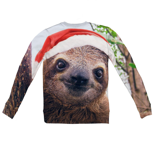 Christmas Sloth Youth Sweater-Shelfies-| All-Over-Print Everywhere - Designed to Make You Smile