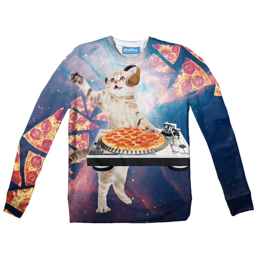 Youth Sweaters - DJ Pizza Cat Youth Sweater