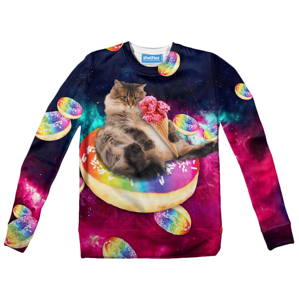396a98d53 Donut Cat-Astrophy Youth Sweater-Shelfies-| All-Over-Print Everywhere