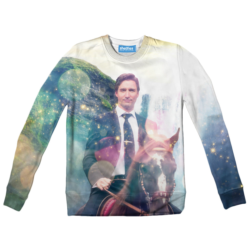 Dreamy Trudeau Youth Sweater - Shelfies | All-Over-Print Everywhere - Designed to Make You Smile
