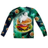 Hamburger Cat Youth Sweater-Shelfies-| All-Over-Print Everywhere - Designed to Make You Smile