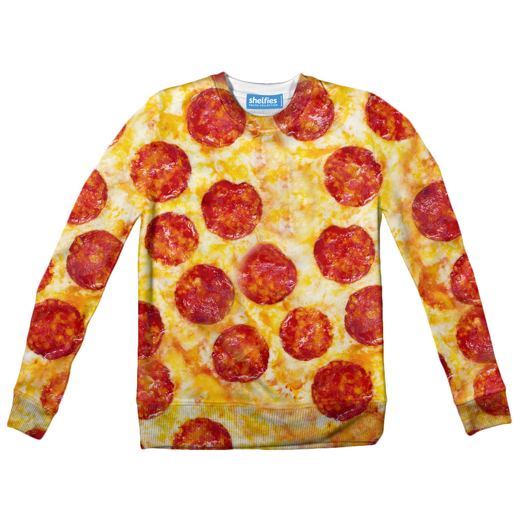 Pizza Invasion Youth Sweater-Shelfies-| All-Over-Print Everywhere - Designed to Make You Smile