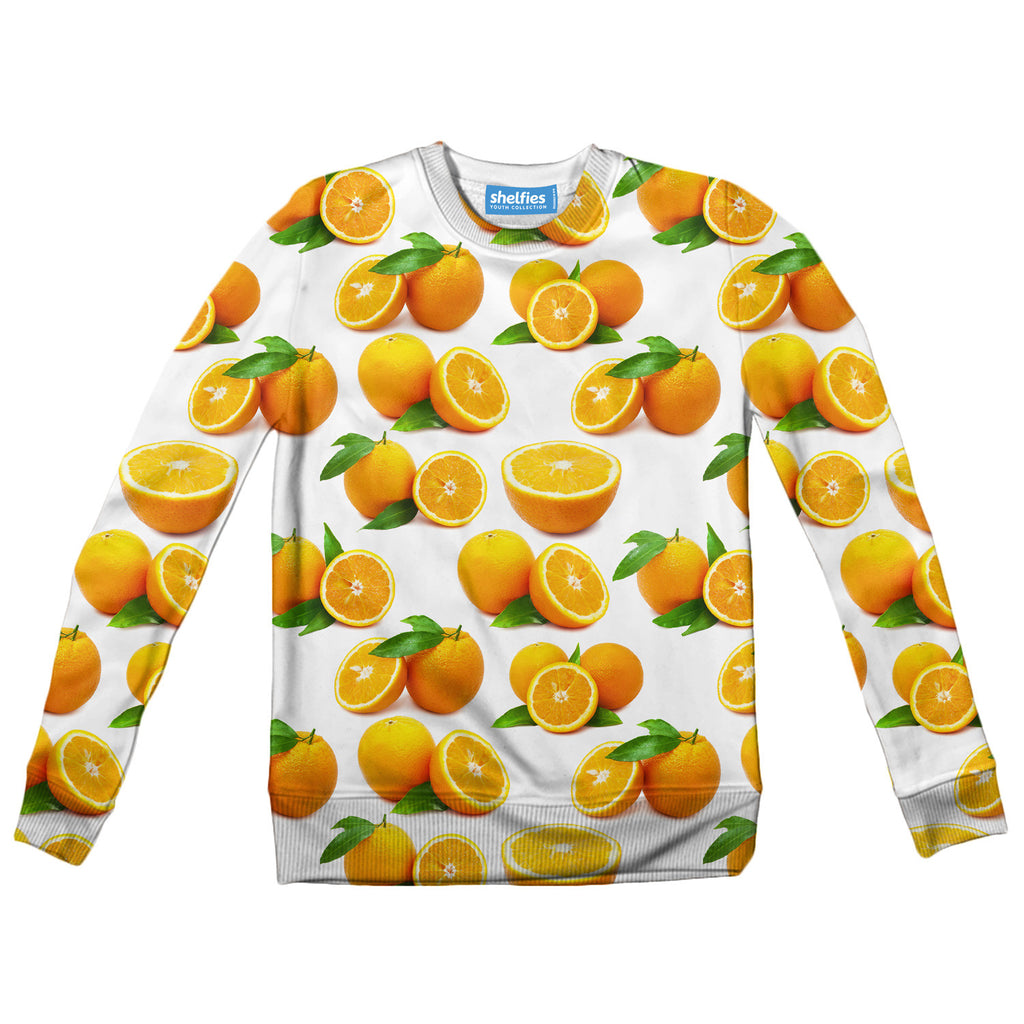 Suave Oranges Youth Sweater - Shelfies | All-Over-Print Everywhere - Designed to Make You Smile