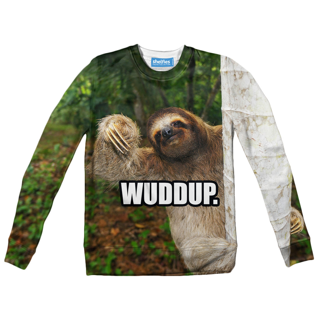 Youth Sweaters - Wuddup Sloth Youth Sweater