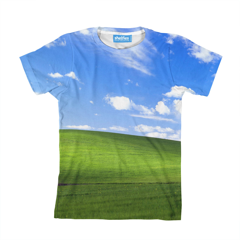Bliss Screensaver Youth T-Shirt-kite.ly-| All-Over-Print Everywhere - Designed to Make You Smile