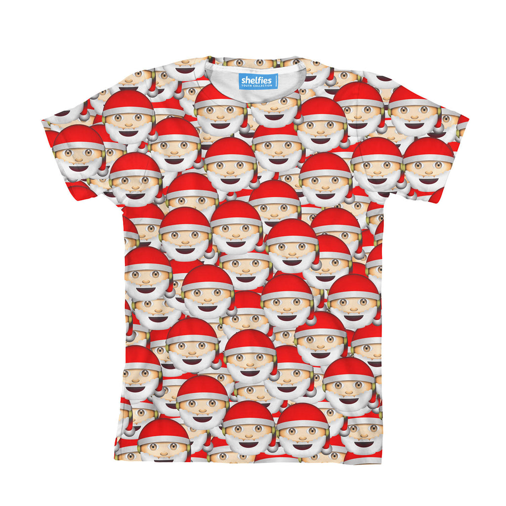 Emoji Santa Invasion Youth T-Shirt-kite.ly-| All-Over-Print Everywhere - Designed to Make You Smile