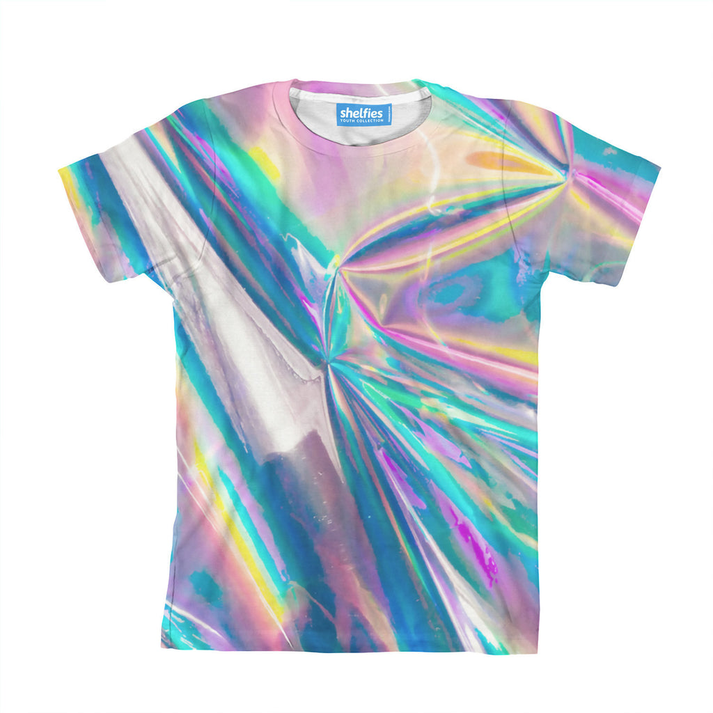 holographic foil youth tshirt  shelfies