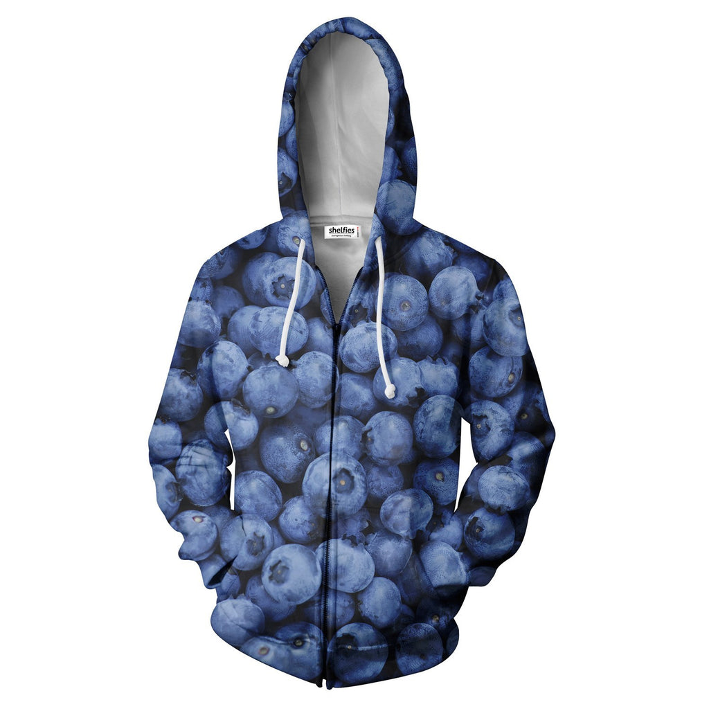 Blueberry Zip Hoodie - Shelfies | All-Over-Print Everywhere - Designed to Make You Smile