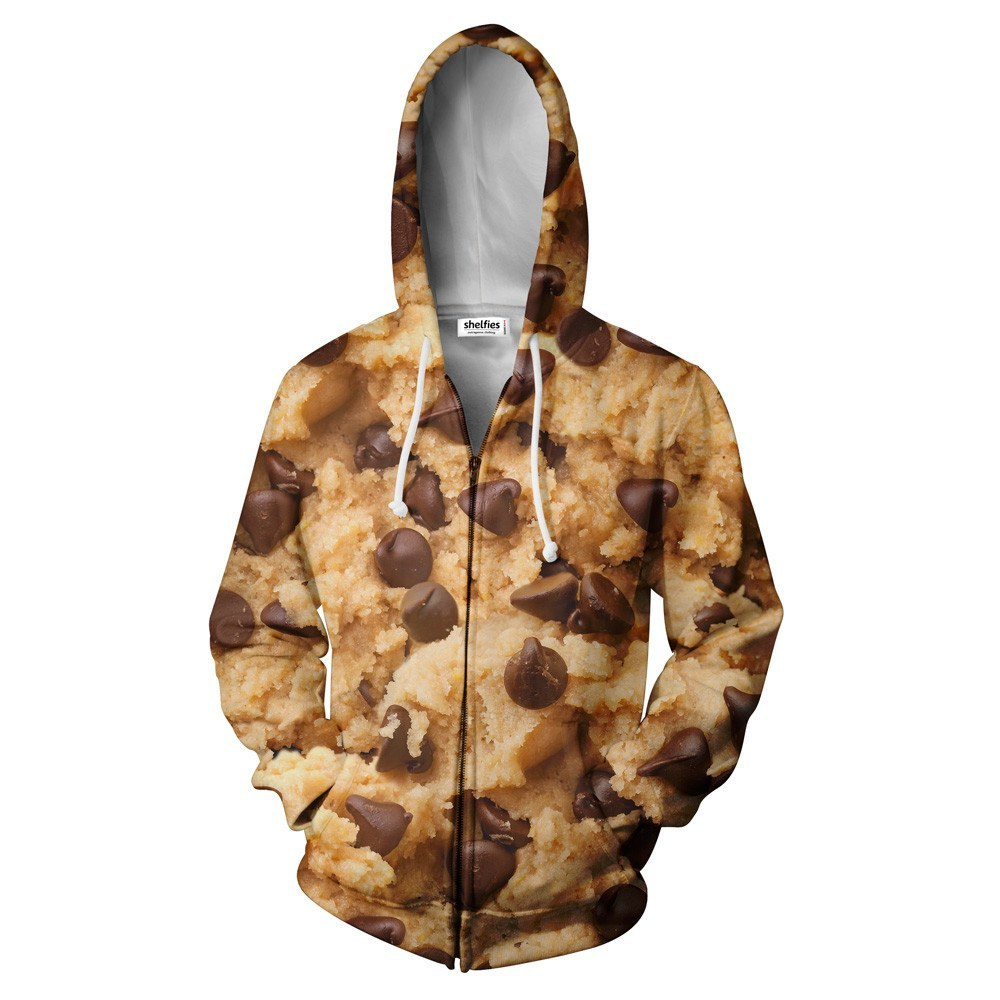 Cookie Dough Zip Hoodie - Shelfies | All-Over-Print Everywhere - Designed to Make You Smile