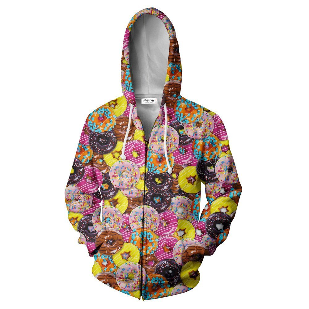 Donuts Invasion Zip Hoodie - Shelfies | All-Over-Print Everywhere - Designed to Make You Smile