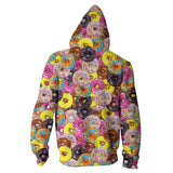 Donuts Zip Hoodie - Shelfies | All-Over-Print Everywhere - Designed to Make You Smile