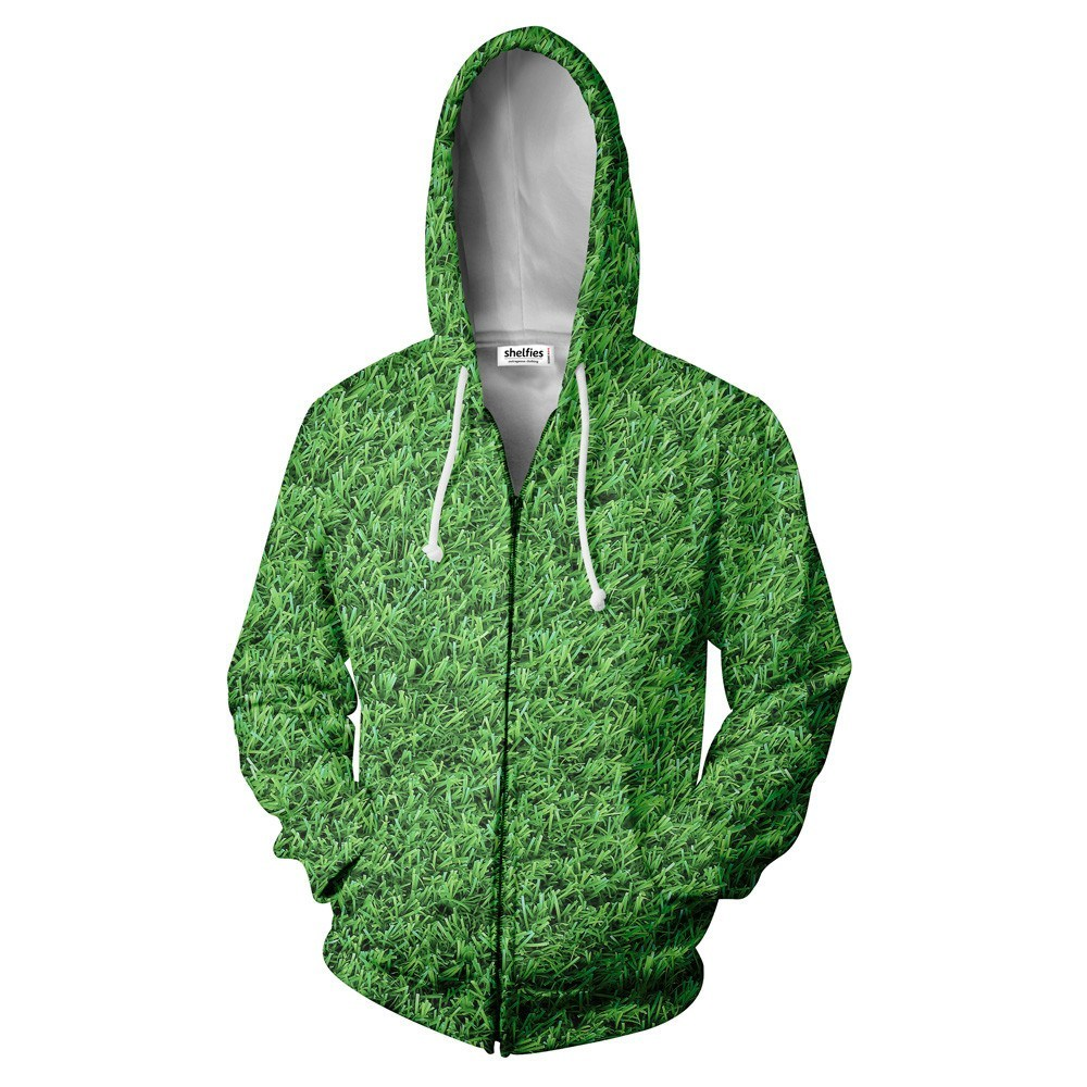 Grass Zip Hoodie - Shelfies | All-Over-Print Everywhere - Designed to Make You Smile