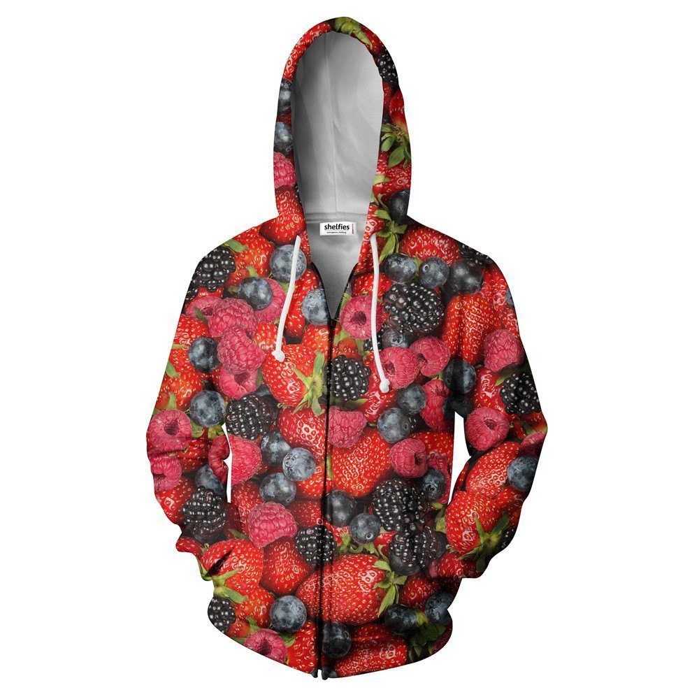 Summer Berries Invasion Zip Hoodie-Shelfies-| All-Over-Print Everywhere - Designed to Make You Smile