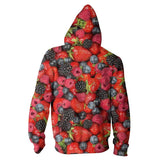 Summer Berries Invasion Zip Hoodie-Shelfies-XS-| All-Over-Print Everywhere - Designed to Make You Smile