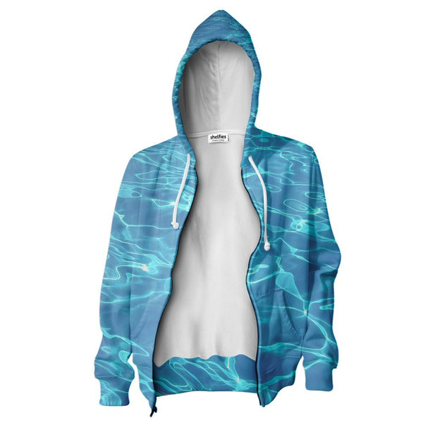 Water Zip Hoodie-Shelfies-XS-| All-Over-Print Everywhere - Designed to Make You Smile