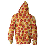 Pizza Invasion Zip Hoodie-Shelfies-XS-| All-Over-Print Everywhere - Designed to Make You Smile