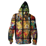 Stained Glass Zip Hoodie-Shelfies-XS-| All-Over-Print Everywhere - Designed to Make You Smile