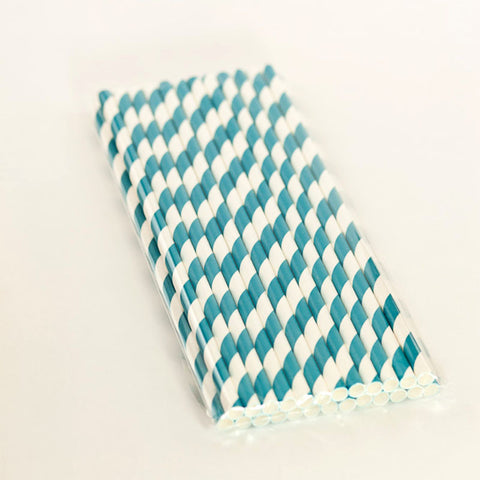 Bondi Blue Paper Striped Straws