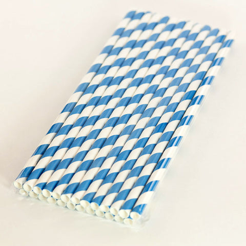 Sky Blue Paper Striped Straws
