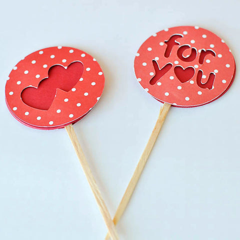 For You (Polka Red & White) Toppers