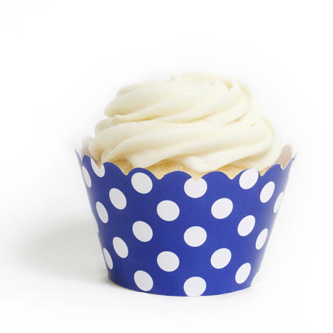 Royal Blue Polka Cupcake Wrapper