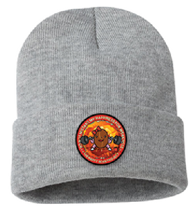 Strong and Happy Light Grey Beanie Color Patch