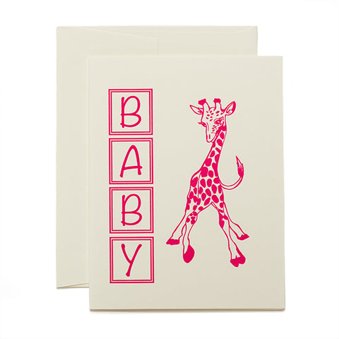 Coffee n Cream Press, Baby Giraffe letterpress card