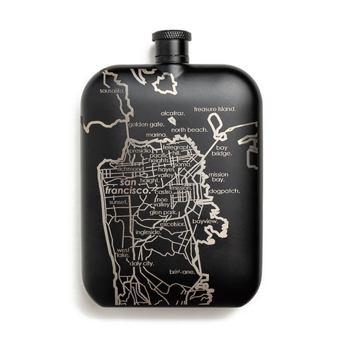 Well Told Design, Map of SF Black Pocket Flask